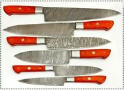 High Quality Hand Forged Damascus Steel Chef Knives Set With Dollar Wood Handle