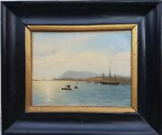 Painting Marine Boats Sea School Danish Or English Painting Pretty Light 19th