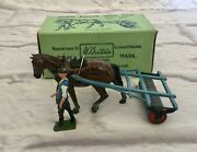 Vtg Britain Horse Roller With Man 3 Piece Set Farm Series Metal Toy With Box 9f