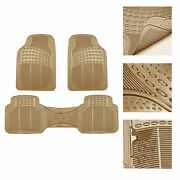 Car Floor Mats For All Weather Rubber 3pc Set Tactical Fit Heavy Duty Beige