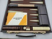 Vintage Backgammon Complete Set With Marble Brown And White Bakelite Chips In Case
