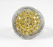 Natural Fancy Yellow Round Diamond Cluster Spiral Ring 14k White Gold 2.28ct