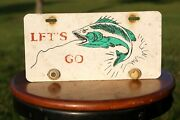 Vintage Fishing Lures Advertising License Plate Topper Plastic Accessory Sign
