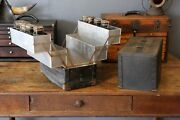 Vintage Machinist Tool Box Fishing Tackle Box With Old Glass Bottles Grease Jars