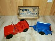 Nice Marx Willys Jeep With Lights And Trailer Vintage 1950and039s Original Box