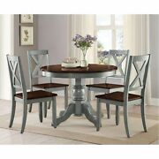 5 Piece Farmhouse Dining Table Set For 4 Rustic Round Dining Room Kitchen Chairs