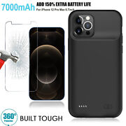 7000mah Portable Power Bank Battery Charger Case +glass For Iphone 11 12 Pro Max