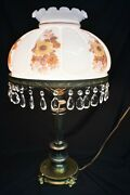 Antique Hurricane Gone With The Wind Lamp With Prisms