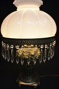 Antique Vintage Hurricane Gone With The Wind Lamp With Prisms