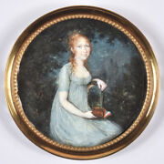Etienne Charles Le Guay-circle Red-haired Lady In Park Landscape Miniature