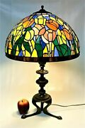 Vintage Stained Glass Table Lamp W/ Bronze Base Poppy Flowers