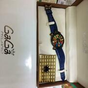 Gaga Milano Manuare Limited Edition 0012/0500 Dark Blue Leather Band Watch