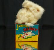 Vintage 1950s Wind Up Rabbit Working In White Real Fur And Box Occupied Japan Toy