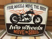 Two Wheels Move The Soul Vintage Style Motorcycle Embossed Harley Indian Triumph