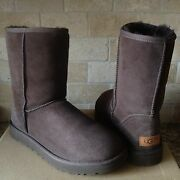 Ugg Classic Short Ii Chocolate Brown Water-resistant Suede Boots Size 7 Womens