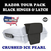 Us Stock Crushed Ice Pearl Razor Tour Pack Black Hinges Latch For 97-20 Harley