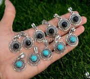 200 Pcs. Lot Turquoise And Onyx Stone 925 Silver Plated Necklace Pendants Jewelry