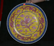 11 Yongzheng Marked Old China Qing Blue White Color Porcelain Dragon Plate Tray