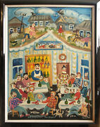 Saloon Drinking People Vintage Outsider Folk Painting By L. Kozlova Russia