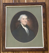 Vintage Framed President George Washington Print In Wood And Glass 16x18.5