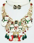 Vintage New Snowman Christmas Jewelry Bib Necklace Earrings One Of A Kind