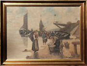 Fishing Boats People W Fish Baskets Antique Painting By A. Baumgartner-stoiloff
