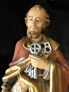 """Saint St Peter Hand Carved Painted Figurine 12"""" Keys In Box 🎁"""