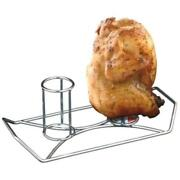 Double Beer Can Chicken Holder Durable Plated Steel With Built In Handles New