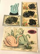 Vtg Lot Swan Plastic Switch Plate Cover And Swan Decals By Meyercord And Dura