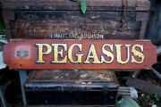 Rare Vintage Nautical Pegasus Boat Ship Sign With Perko Brass Tag 40andrdquo By 7⅝andrdquo
