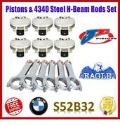 Je 3.406 86.50 Mm 9.01 Cr Pistons / Eagle H-beam Rods Set For Bmw S52b32 Us