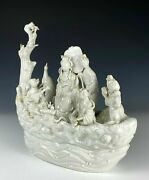Large Antique Chinese Blanc Porcelain Figural Boat With Immortals 19th C. China