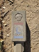 Original 1920s Lincoln Highway Sign Cement Post Marker Route 50