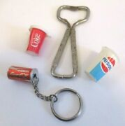 Vintage Coke Can Opener, Coca Cola, Pepsi Cup Charms, Coke Can Key Chain 4pc Lot