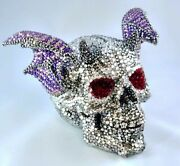 Human Skull Sculpture With Wings, Crystalized Demonic Glam Art Sculpture
