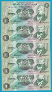Bank Of Scotland- 5 X Andpound1- 04.11.1980- 5 Running Numbers- Uncirculated