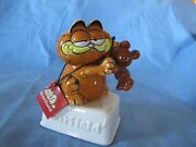 Vintage Enesco Garfield Cat And Pookie Music Box Figurine With Tags