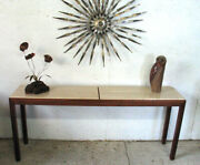 Mid Century Modern Parsons Console Table Travertine Top Harvey Probber Style 60s