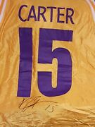 2001 Mr. Big 1/1 Vince Carter Worn/signed Authentic Jersey Bas Coa 9/10 A23814