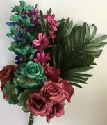 Pack Of 12 Special Mixed Flowers Bush Silk Flower Christmas Home Mxd1021 Us