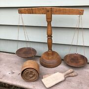 Antique Treen English Dairy Butter Scales