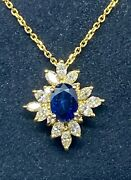 Style F/vs Diamond 2.5ct And Sapphire 1.75 Ct. 14k. Yellow Gold Necklace