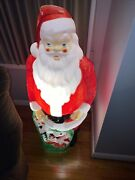 Vintage Empire Christmas 46 Santa Holding A Green Bag Of Toys Lighted Blow Mold