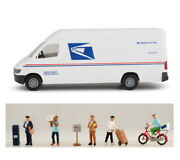 Walthers Scenemaster 1/87 Ho Scale Usps Delivery Van And Postal Workers Combo Set