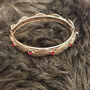 Vintage Salvaged Gold Tone Stone Accent Bangle