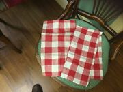 2 Vintage Classic Red Check Linen Dish Towels New