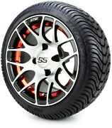 Gtw 12 Pursuit Machined Red Golf Cart Wheels And Tires 215-35-12 - Set Of 4