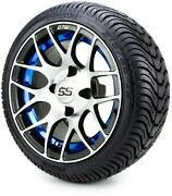 Gtw 12 Pursuit Machined Blue Golf Cart Wheels And Tires 215-35-12 - Set Of 4