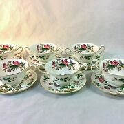 Wedgwood Charnwood Set 6 Cream Soup Bowl Saucers Blk Stamp Butterfly Bee England