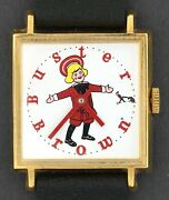 Vintage Wind-up Square Buster Brown Advertising Shoes Character Watch In Box